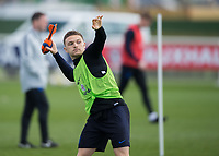 Kieran Trippier of England throws a soft rocket during the England National Team Training ahead of the international friendly match with Italy at Tottenham Hotspur Training Ground, Hotspur Way, England on 26 March 2018. Photo by Vince  Mignott.