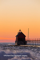 64795-01202 Grand Haven South Pier Lighthouse at sunset on Lake Michigan, Ottawa County, Grand Haven, MI