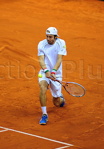 01.02.2013 Turin, Italy. Paolo Lorenzi in action against during the opening round tie of the Davis Cup between Italy and Croatia from Palavela.