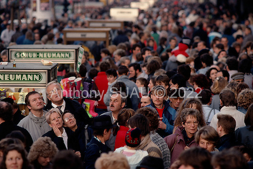 Berlin, Germany<br /> November 11, 1989<br /> <br /> East Germans shop for the first time in West Berlin. East Germans travel to the West after the East German government lifted travel and emigration restrictions regulations on November 9, 1989.