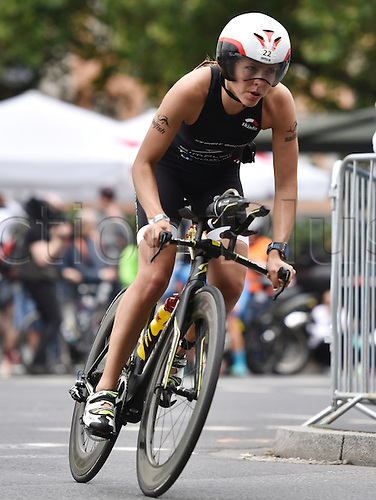 03.07.2016. Frankfurt, Germany.  Bianca Steurer (Austria)in the cycling leg of the womens Ironman event in Frankfurt, Germany, 03 July 2016. At the 15th Ironman Frankfurt more than 3,000 athletes from over 60 nations are competing. In addition to the overall victory and the titles of European Champion and German Champion over long distance events will also be awarded.