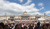 London, UK. 21 June 2015. Audience in Trafalgar Square watching stars from the West End stages perform at West End Live 2015 in Trafalgar Square.