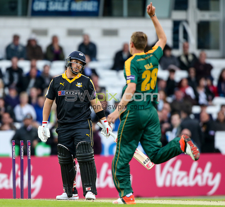 Picture by Alex Whitehead/SWpix.com - 19/06/2015 - Cricket - NatWest T20 Blast - Yorkshire Vikings v Nottinghamshire Outlaws - Headingley Cricket Ground, Leeds, England - Yorkshire's Aaron Finch is bowled.