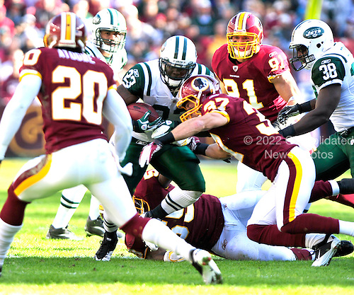 New York Jets running back Shonn Greene (23) scores the Jets' first touchdown against the Washington Redskins at FedEx Field in Landover, Maryland on Sunday, December 4, 2011..Credit: Ron Sachs / CNP.(RESTRICTION: NO New York or New Jersey Newspapers or newspapers within a 75 mile radius of New York City)