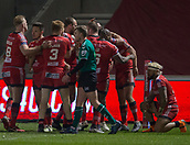 16th March 2018, The AJ Bell Stadium, Salford, England; Betfred Super League rugby, Salford Red Devils versus Hull FC; Salford celebrate Greg Johnson's try