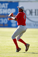 June 22, 2009:  Left Fielder T.J. Warren of the Williamsport Crosscutters during a game at Dwyer Stadium in Batavia, NY.  The Crosscutters are the NY-Penn League Short-Season Single-A affiliate of the Philadelphia Phillies.  Photo by:  Mike Janes/Four Seam Images