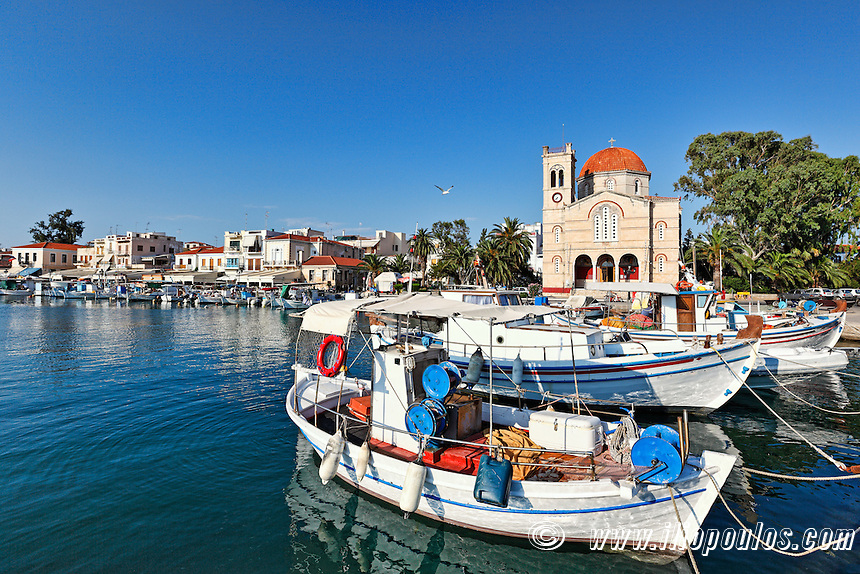 Boats in the port of Aegina island, Greece