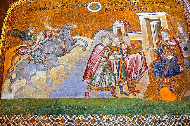 The 11th century Roman Byzantine Church of the Holy Saviour in Chora and its mosaic of the Three Kings (Magi) in audience with King Herod (panel D-14).  Endowed between 1315-1321  by the powerful Byzantine statesman and humanist Theodore Metochites. Kariye Museum, Istanbul