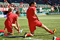 Portland, OR - Saturday September 02, 2017: Christine Sinclair during warmups before a regular season National Women's Soccer League (NWSL) match between the Portland Thorns FC and the Washington Spirit at Providence Park.