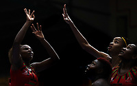 23.02.2018 Malawi's Mwai Kumwenda in action during the Malawi v Jamaica Taini Jamison Trophy netball match at the North Shore Events Centre in Auckland. Mandatory Photo Credit ©Michael Bradley.
