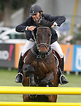 Spain's jockey Eduardo Marquez Garcia with the horse Ustinoff S during 102 International Show Jumping Horse Riding, King's College Trophy. May, 20, 2012. (ALTERPHOTOS/Acero)
