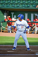 Willie Calhoun (17) of the Ogden Raptors at bat against the Orem Owlz in Pioneer League action at Lindquist Field on June 18, 2015 in Ogden, Utah.  This was Opening Night play of the 2015 Pioneer League season. (Stephen Smith/Four Seam Images)