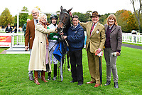Connections of Caiya in the winners enclosure after winning The Byerley Stud EBF Fillies' Novice Stakes  during Bathwick Tyres Reduced Admission Race Day at Salisbury Racecourse on 9th October 2017