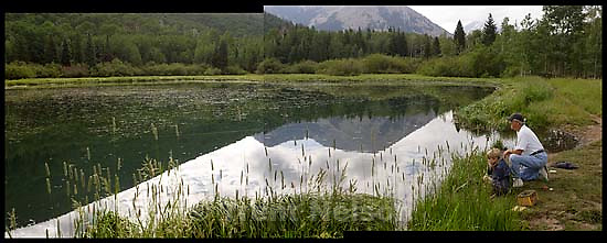 Camping in the La Sal Mountains, Warner Lake. Nathaniel Nelson fishing with Grandpa Ed Quayle; 7.25.2005<br />