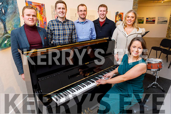 """Deirdre Millane (seated) from Tralee launching her CD """"Idir Dubh agus Bán"""" in Siamsa Tire on Friday evening.<br /> Back l to r: Tom Keane, Danny Collins, Felix Morgenstorn, Seamus Harnett and Sinead Millan."""