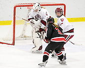 Laura Bellamy (Harvard - 1), Annie Hogan (NU - 3), Josephine Pucci (Harvard - 2) - The Harvard University Crimson defeated the Northeastern University Huskies 1-0 to win the 2010 Beanpot on Tuesday, February 9, 2010, at the Bright Hockey Center in Cambridge, Massachusetts.
