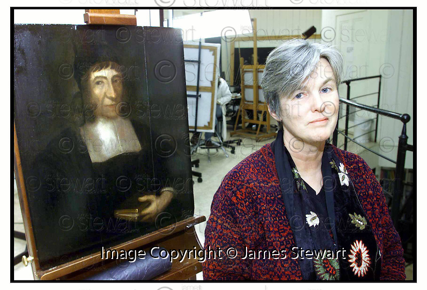 16th April 2000        Copyright Pic : James Stewart .Ref :                           .File Name : stewart03-painting                      .CLARE MERIDETH WHO IS IN CHARGE OF THE RESTORATION OF THE 17TH CENTURY PAINTING OF REV JAMES GUTHRIE....(see copy from George Mair/Tim Bugler).....Payments to :-.James Stewart Photo Agency, Stewart House, Stewart Road, Falkirk. FK2 7AS      Vat Reg No. 607 6932 25.Office : +44 (0) 1324 630007   Mobile : 07721 416997.Fax     : +44 (0) 1324 630007.E-mail : jim@jspa.co.uk.If you require further information then contact Jim Stewart on any of the numbers above.........