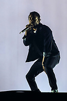 Kendrick Lamar performs on the main stage of the Festival d'ete de Quebec (FEQ) in Quebec city Friday July 7, 2017.