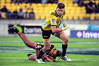 Jordie Barrett in action during the Super Rugby match between the Hurricanes and Chiefs at Westpac Stadium in Wellington, New Zealand on Friday, 13 April 2018. Photo: Dave Lintott / lintottphoto.co.nz