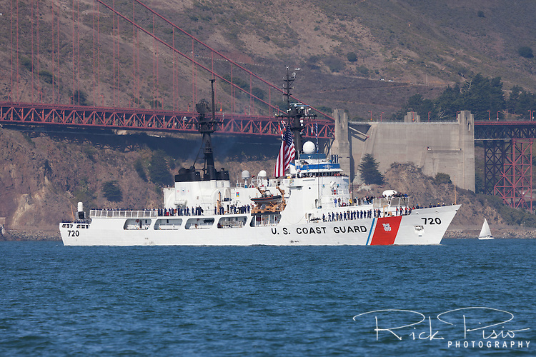 The United States Coast Guard Cutter Sherman (WHEC –720) passes under the Golden Gate Bridge and into San Francisco Bay. The Sherman was launched on September 3rd, 1968, and  was the sixth of twelve 378 foot high endurance cutters (WHEC's) built for the Coast Guard in the 1960s. The cutter is named for John Sherman, the 19th century statesman who served as Secretary of the Treasury from March 10th, 1877 to March 3rd, 1881 under President Rutherford B. Hayes.