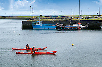 Galway, Ireland, August 2013. Kayaking the harbour and canals of Galway city. Duncan Warner of Give it a Go Sea Kayaking takes us along the Galway coast of west Ireland to Connamara, Slyne Head, Streamstown, Ballinakill harbour, Cladaghduff, Old Head Campsite near westport and clew bay.  Photo by Frits Meyst/Adventure4ever.com