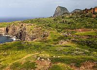 Rugged landscape near Kahekili Highway (or Highway 340) on Maui.