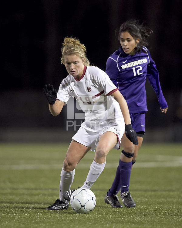 "Boston College forward Kristen Mewis (19) dribbles. In overtime, Boston College defeated University of Washington, 1-0, in NCAA tournament ""Elite 8"" match at Newton Soccer Field, Newton, MA, on November 27, 2010."