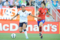 US Women's National forward Sydney Leroux (2) and Korea Republic defender Shim Seoyeon (4) in action during the International Friendly soccer match between the USA Women's National team and the Korea Republic Women's Team held at Gillette Stadium in Foxborough Massachusetts.   Eric Canha/CSM