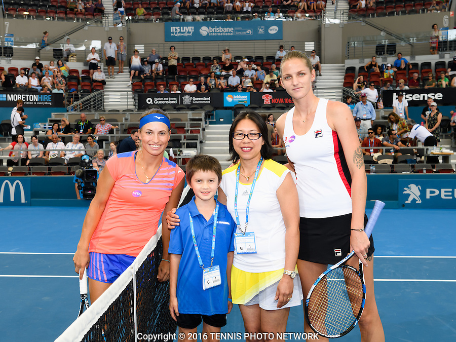 YULIA PUTINTSEVA of KAZAKHSTAN (KAZ) and KAROLINA PLISKOVA of CZECH REPUBLIC (CZE) <br /> <br /> 2017 BRISBANE INTERNATIONAL, PAT RAFTER ARENA, BRISBANE TENNIS CENTRE, BRISBANE, QUEENSLAND, AUSTRALIA<br /> <br /> &copy; TENNIS PHOTO NETWORK