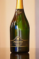 Bottle of sparkling Brut Chardonnay Pizzorno Vino Espumoso natural Bodega Carlos Pizzorno Winery, Canelon Chico, Canelones, Uruguay, South America