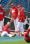 10/17/08 1:27:37 PM -- Philadelphia, PA, U.S.A. -- Philadelphia Phillies Shane Victorino (L) speaks with Phillies coach Dave Lopes (R) as he warms up before practice October 17, 2008 at Citizen's Bank Park in Philadelphia, Pennsylvania. Victorino showed the team that cast him aside that it made a costly error. The Philadelphia outfielder, who spent six years in the L.A. Dodgers' farm system, used key hits in pressure situations, including a triple, Game 4 eighth-inning homer and six RBI during the NLCS, to help the Phillies beat the Dodgers and reach their first World Series since 1993. -- ...Photo by William Thomas Cain, Freelance.