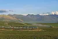 Truck on the James Dalton Highway, along the Trans Alaska oil pipeline, green summer tundra, Brooks range, Alaska.