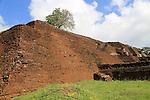 Buildings of rock palace fortress on rock summit, Sigiriya, Central Province, Sri Lanka, Asia
