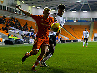 Blackpool's Owen Watkinson shields the ball from Derby County's Archie Brown<br /> <br /> Photographer Alex Dodd/CameraSport<br /> <br /> The FA Youth Cup Third Round - Blackpool U18 v Derby County U18 - Tuesday 4th December 2018 - Bloomfield Road - Blackpool<br />  <br /> World Copyright &copy; 2018 CameraSport. All rights reserved. 43 Linden Ave. Countesthorpe. Leicester. England. LE8 5PG - Tel: +44 (0) 116 277 4147 - admin@camerasport.com - www.camerasport.com