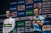 Bronze for Victor Campenaerts (BEL/Lotto-Soudal)<br /> <br /> MEN ELITE INDIVIDUAL TIME TRIAL<br /> Hall-Wattens to Innsbruck: 52.5 km<br /> <br /> UCI 2018 Road World Championships<br /> Innsbruck - Tirol / Austria