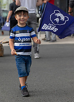 Bath Fan with Bristol Flag<br /> <br /> Photographer Bob Bradford/CameraSport<br /> <br /> Gallagher Premiership - Bristol Bears v Bath Rugby - Friday August 31st 2018 - Ashton Gate - Bristol<br /> <br /> World Copyright © 2018 CameraSport. All rights reserved. 43 Linden Ave. Countesthorpe. Leicester. England. LE8 5PG - Tel: +44 (0) 116 277 4147 - admin@camerasport.com - www.camerasport.com