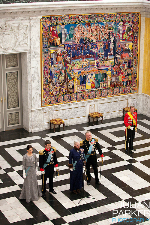 Queen Margrethe and Prince Henrik, Crown Prince Frederik and Crown Princess Mary of Denmark attend the New Year Court for diplomats at Christiansborg Palace in Copenhagen, Denmark.