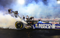 Aug. 31, 2012; Claremont, IN, USA: NHRA top fuel dragster driver Antron Brown during qualifying for the US Nationals at Lucas Oil Raceway. Mandatory Credit: Mark J. Rebilas-