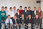 AWARDS: Talented athletes who were honoured at the Kerry AAI county awards night in the Killarney Oaks Hotel on Friday night front l-r: Patrick O'Shea (Iveragh AC), Tim Griffin (Tralee), Michael Heery (AAI President), Denny McSweeney (Secretary) and Shane Delaney (County Secretary). Back l-r: Conal O'Callaghan (Spa/Muckross), Daniel Clifford (Farranfore/Maine Valley), Michael O'Neill (Gneeveguilla), Cian Murphy (Iveragh AC), Niamh O'Sullivan (An Riocht), Tomas Radley (An Riocht), Thady Finucane (Estuary AC), Patsy O'Connor (Tralee Harriers), Tomas Griffin (An Riocht) and Sheila O'Donoghue (Gneeveguilla)..   Copyright Kerry's Eye 2008
