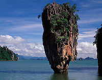 Seastack at James Bond Island, Phang Nga Bay National Park, Thailand    Seastack featured in Man with the Golden Gun