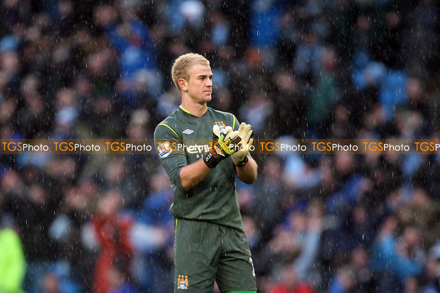 Manchester City goalkeeper Joe Hart claps the fans at the end of the game -  Manchester City vs Tottenham Hotspur - at the Etihad Stadium - 22/01/12 - MANDATORY CREDIT: Dave Simpson/TGSPHOTO - Self billing applies where appropriate - 0845 094 6026 - contact@tgsphoto.co.uk - NO UNPAID USE.