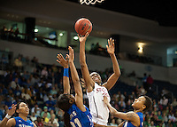 NORFOLK, VA--Nneka Ogwumike drops two against Hampton University at the Ted Constant Convocation Center at Old Dominion University in Norfolk, VA in the first round of the 2012 NCAA Championships. The Cardinal advanced with a 73-51 win to play West Virginia on Monday, March 19.