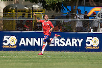 John Ruiz (9) of Costa Rica celebrates his third goal during the group stage of the CONCACAF Men's Under 17 Championship at Jarrett Park in Montego Bay, Jamaica. Costa Rica defeated El Salvador, 3-2.