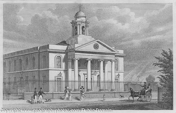 St Mary Le-Bone Chapel, St John's Wood Road, engraving 'Metropolitan Improvements, or London in the Nineteenth Century', England, UK 1828 , drawn by Thomas H Shepherd