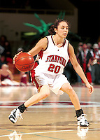 Milena Flores during the 1999-2000 women's basketball season at Maples Pavilion in Stanford, CA.