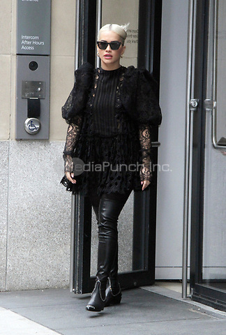 NEW YORK, NY - December 17: Rita Ora seen leaving the Hearst Magazine Building in New York City on December 17, 2018. Credit: RW/MediaPunch