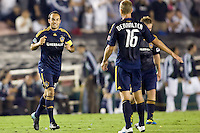 LA Galaxy midfielder Landon Donovan is all smiles after scoring on a PK. Real Madrid beat the LA Galaxy 3-2 in an international friendly match at the Rose Bowl in Pasadena, California on Saturday evening August 7, 2010.