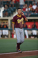 Lyle Lin (27) of the Arizona Sun Devils returns to the dugout during a game against the Southern California Trojans at Dedeaux Field on March 24, 2017 in Los Angeles, California. Southern California defeated Arizona State, 5-4. (Larry Goren/Four Seam Images)
