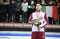 SHORT TRACK: TORINO: 15-01-2017, Palavela, ISU European Short Track Speed Skating Championships, Podium 1000m Men, Shaoang Liu (HUN), ©photo Martin de Jong