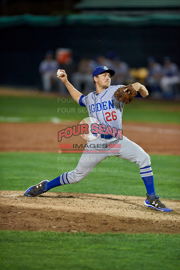 Zach Hartman (26) of the Ogden Raptors delivers a pitch to the plate against the Orem Owlz at Home of the Owlz on September 11, 2017 in Orem, Utah. Ogden defeated Orem 7-3 to win the South Division Championship. (Stephen Smith/Four Seam Images)